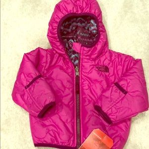 NWT baby girls north face reversible down jacket